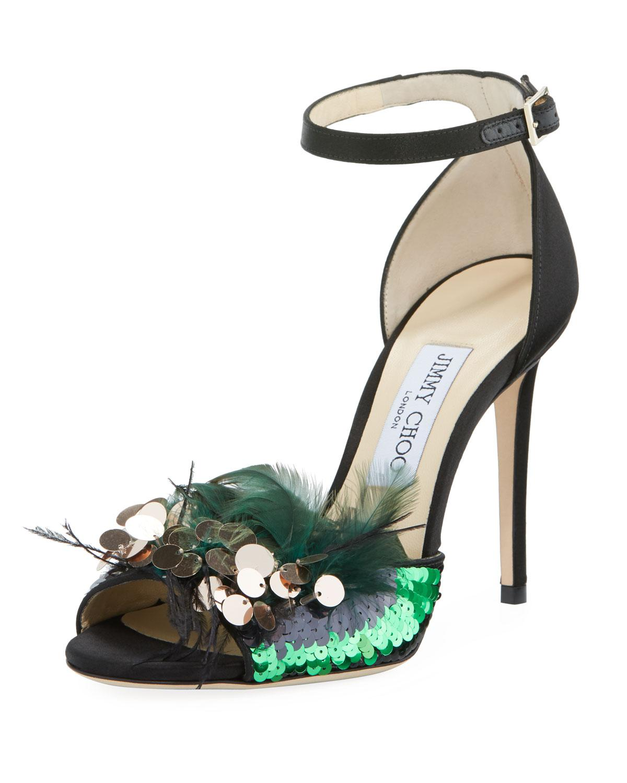 188ec638979 Jimmy Choo - Black Annie 100 Feather Sandals - Lyst. View fullscreen