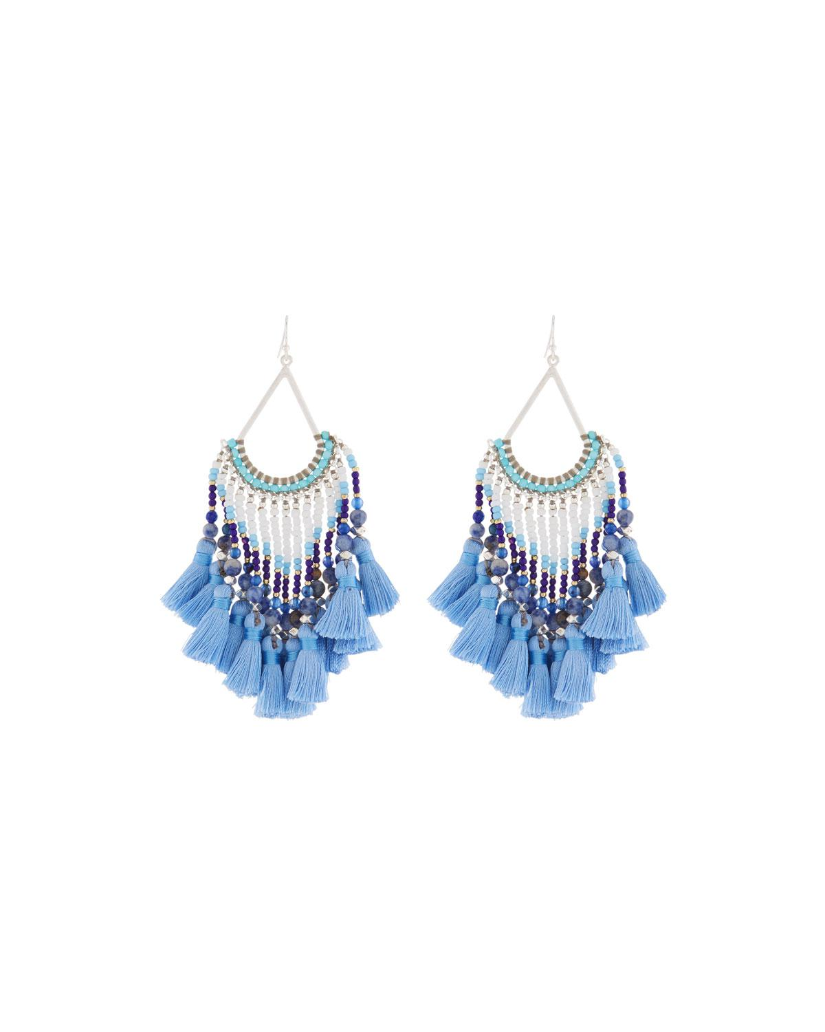 Nakamol Mixed Beaded Dangle Fringe Earrings DOparHlGg