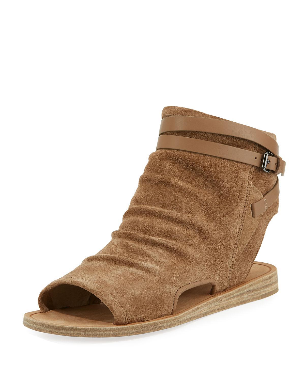 b212c900a395 Lyst - Vince Thalia Slouchy Suede Cutout Flat Sandals