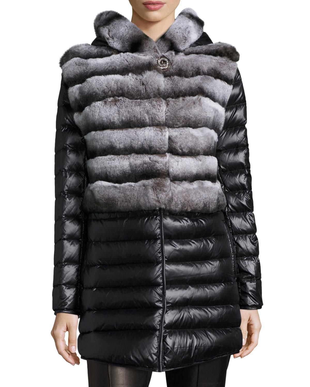 Lyst Gorski Rabbit Fur Stroller Coat W Removable Down