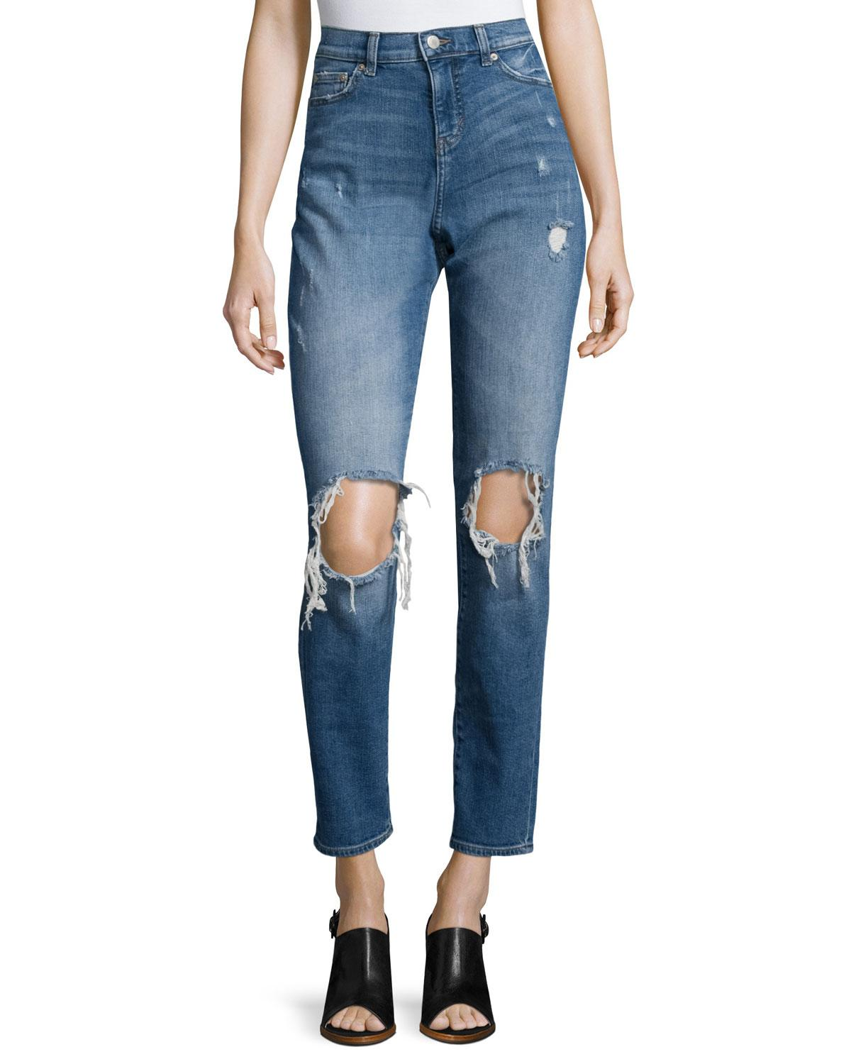 cheap monday high waist cropped boyfriend jeans in blue lyst. Black Bedroom Furniture Sets. Home Design Ideas