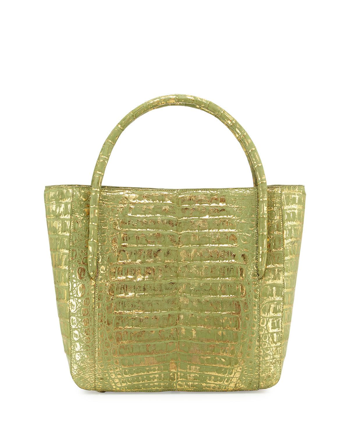 Nancy gonzalez crocodile square shopper tote bag in green for Nancy gonzalez crocodile tote