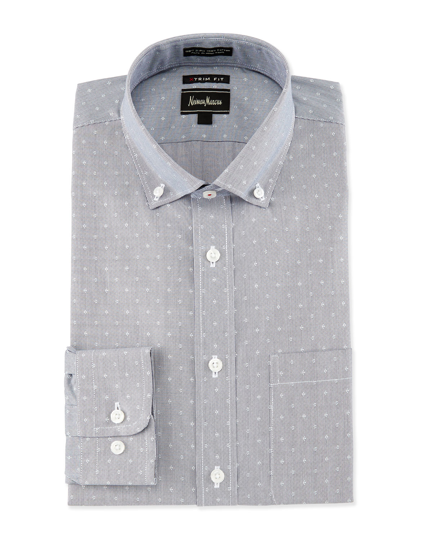 Neiman marcus extra trim fit regular finish dot print for Extra trim fit dress shirt
