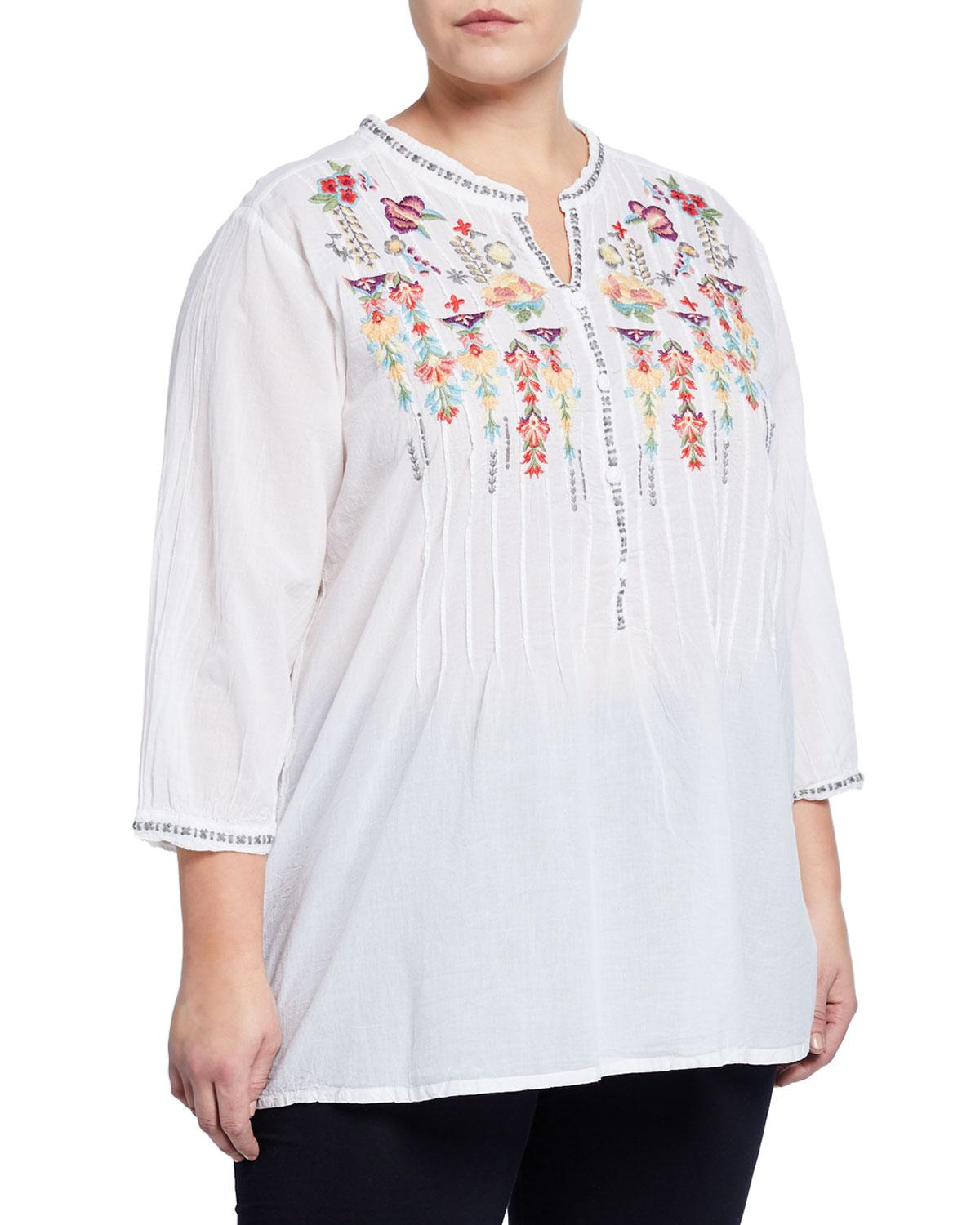 f0fb9acef89 Lyst - Johnny Was Plus Size Brenda Floral Embroidered Tunic in White