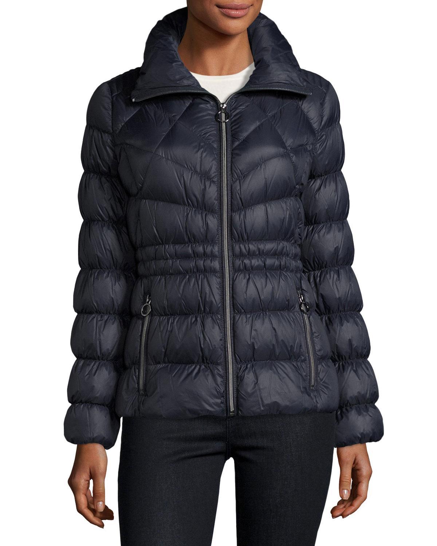 Michael Michael Kors Packable Cinched Waist Puffer Jacket