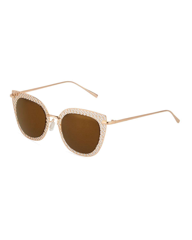 0ed5d8e98b Lyst - Ellen Tracy Cutout Cat-eye Metal Sunglasses in Metallic