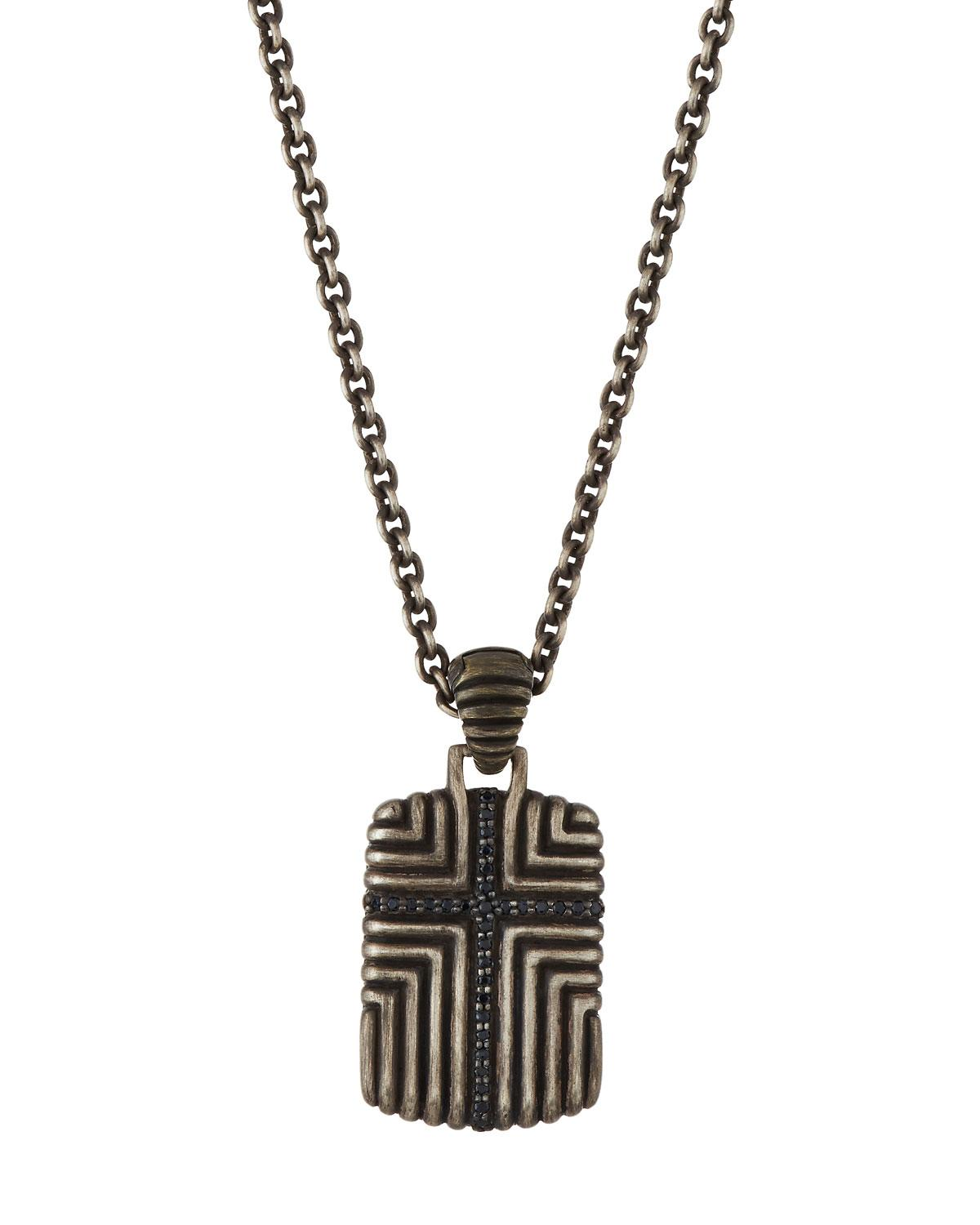 John hardy Men s Bedeg Black Sapphire Cross Dog Tag Necklace in Black for