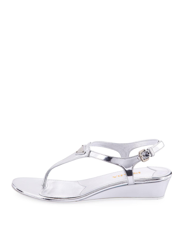63a1d9e9656 Prada Metallic Patent Demi-wedge Thong Sandal in Metallic - Lyst