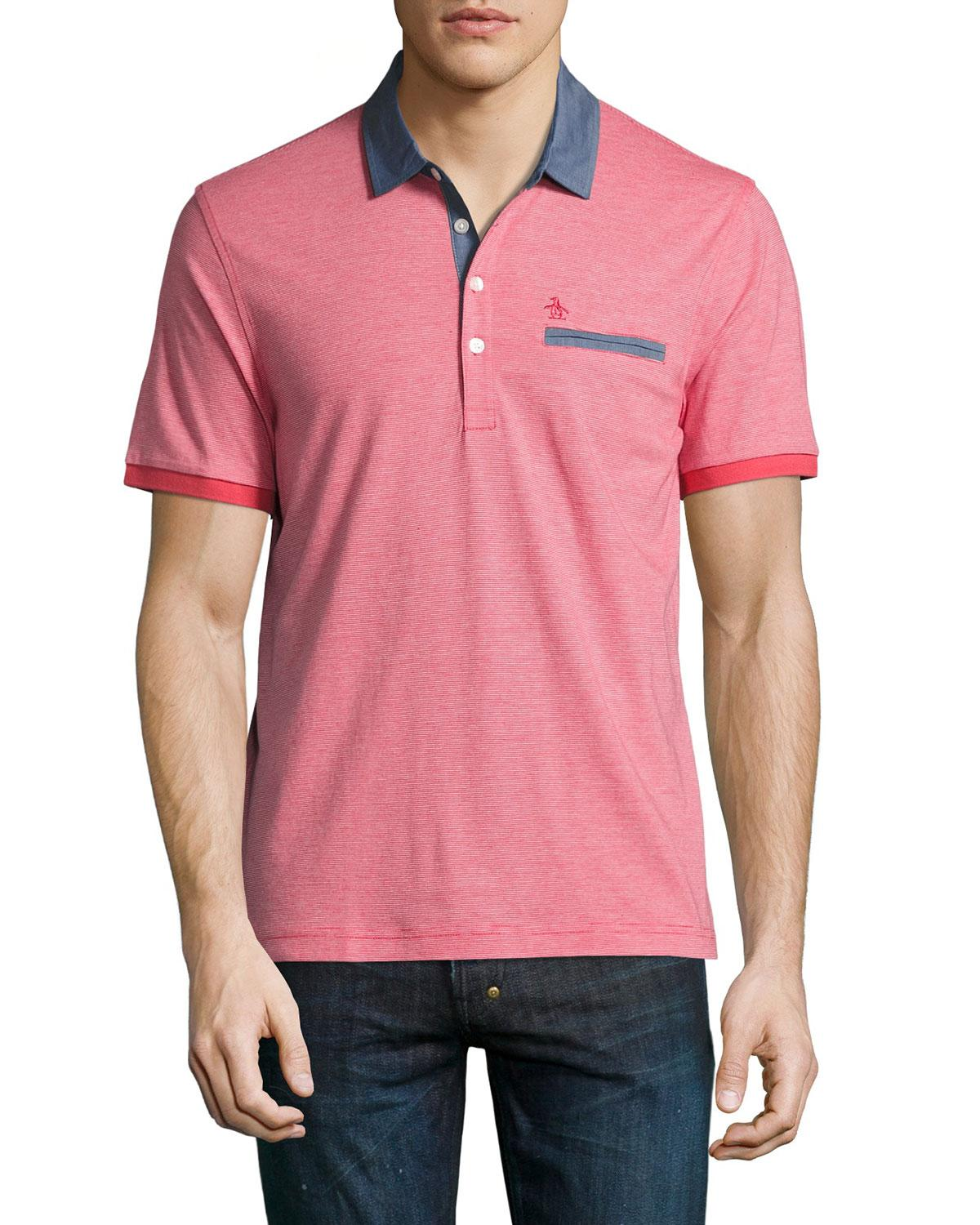 Original penguin welt pocket cotton polo shirt in pink for for Men s cotton polo shirts with pocket