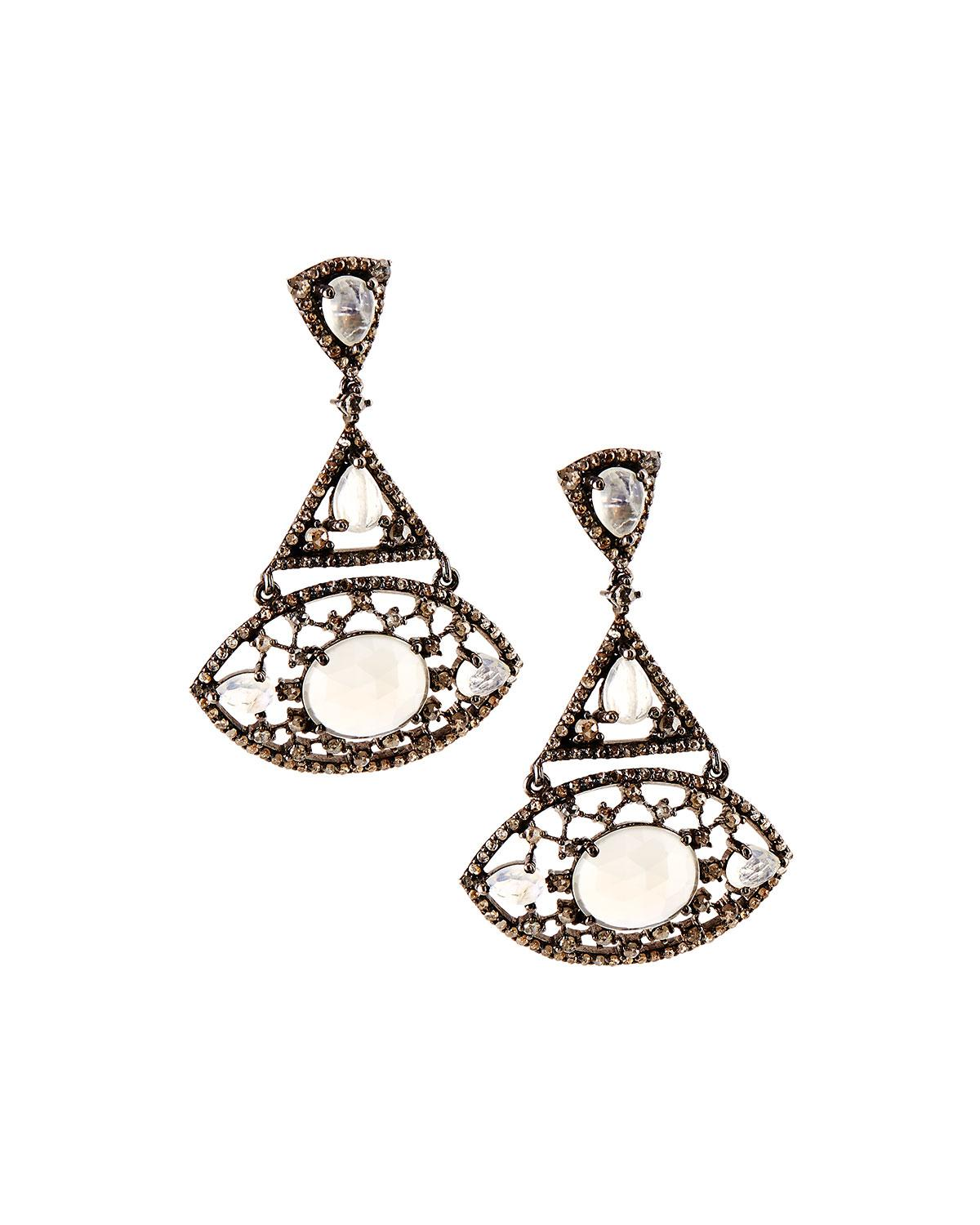 bavna jewelry bavna gray moonstone drop earrings in gray lyst 2774