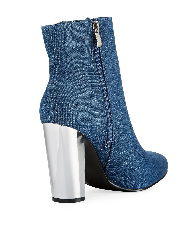 8544831d264f Lyst - Neiman Marcus Bucasia Denim Block-heel Bootie in Blue