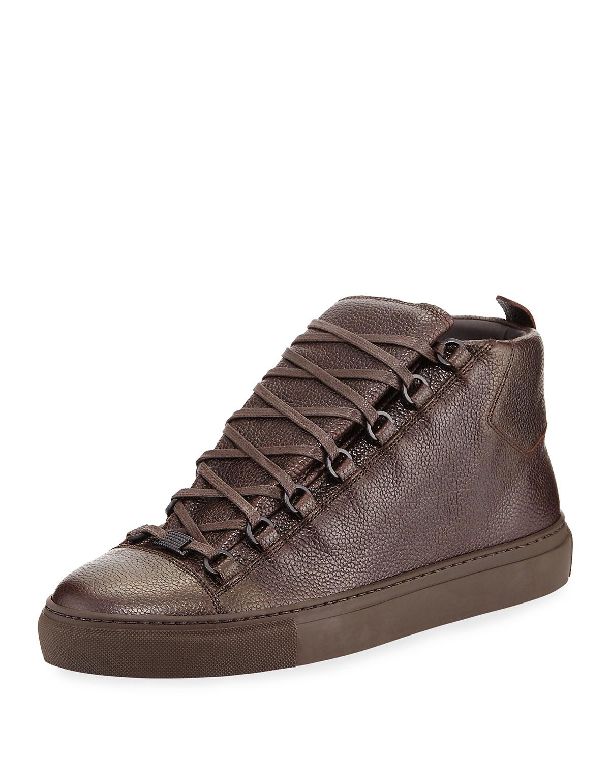 1d88c83f1c963 Lyst - Balenciaga Men s Arena Leather High-top Sneakers in Brown for Men