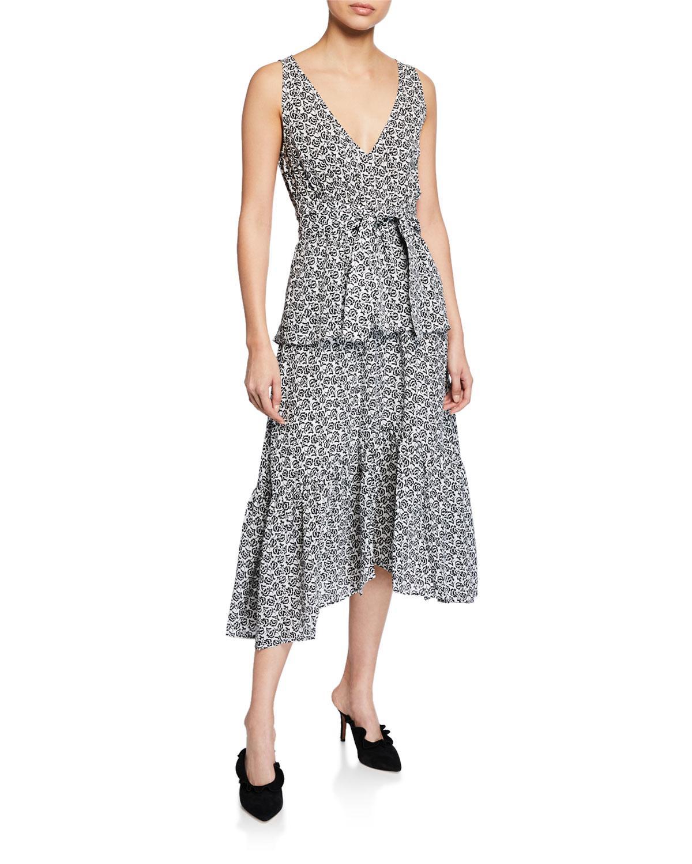 b7cd99889ae Lyst - A.L.C. Judd Printed Tiered Silk Sheath Dress in Black - Save 35%