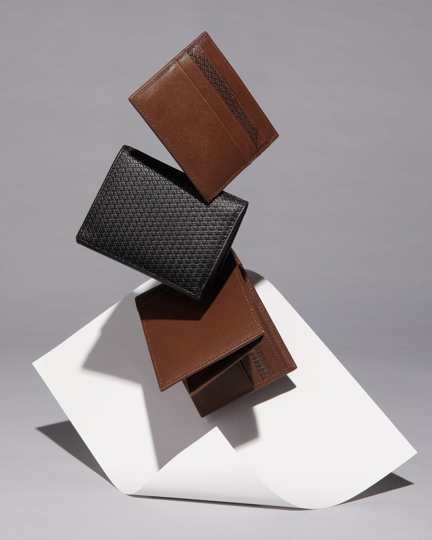 b47be83e4fcd Lyst - Neiman Marcus Men s Leather Bi-fold Passcase Wallet in Black for Men
