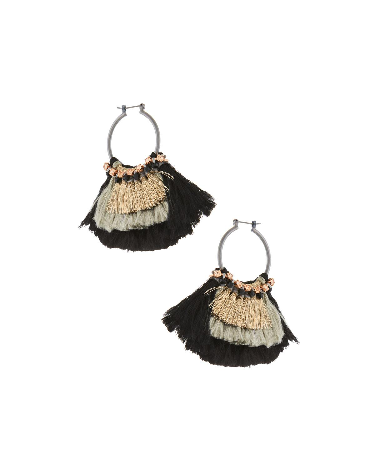 Nakamol Two-Tone Tassel Hoop Earrings rZFqnp