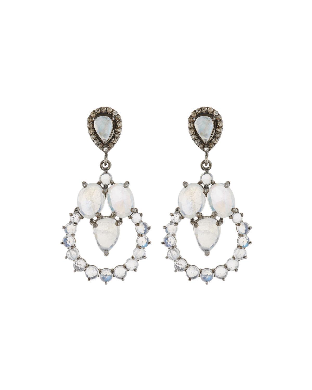 Bavna Tanzanite & Moonstone Teardrop Earrings ZDcOY8E