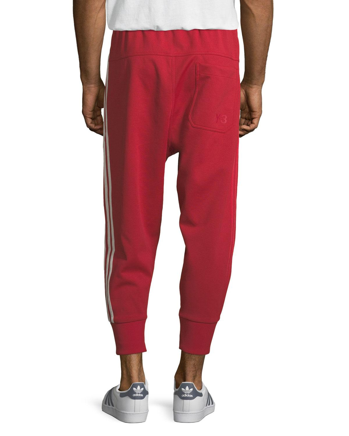 5d93ded46 Lyst - Y-3 3-stripe French Terry Track Pants in Red for Men