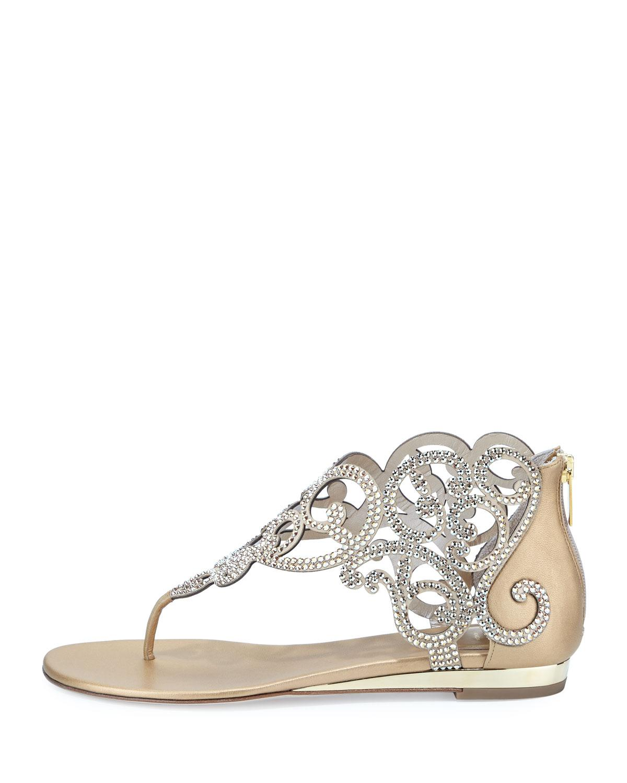 76078b61dc85 Lyst - Rene Caovilla Crystal Laser-cut Flat Thong Sandal in Metallic