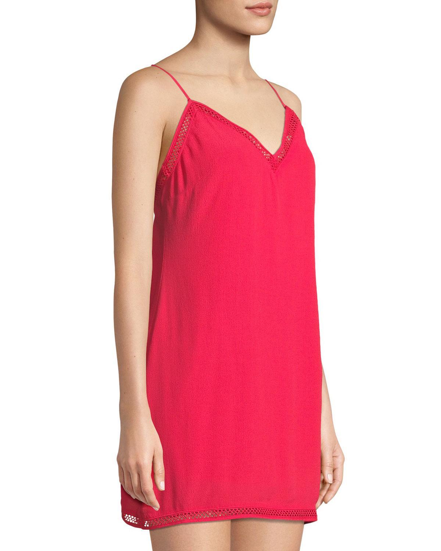 109b1ac1181c Lyst - Lovers + Friends Crochet-trim Mini Slip Dress in Red