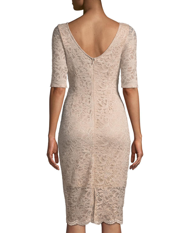 673292a0 Lyst - Neiman Marcus Ombre Foil Lace Sheath Dress in White