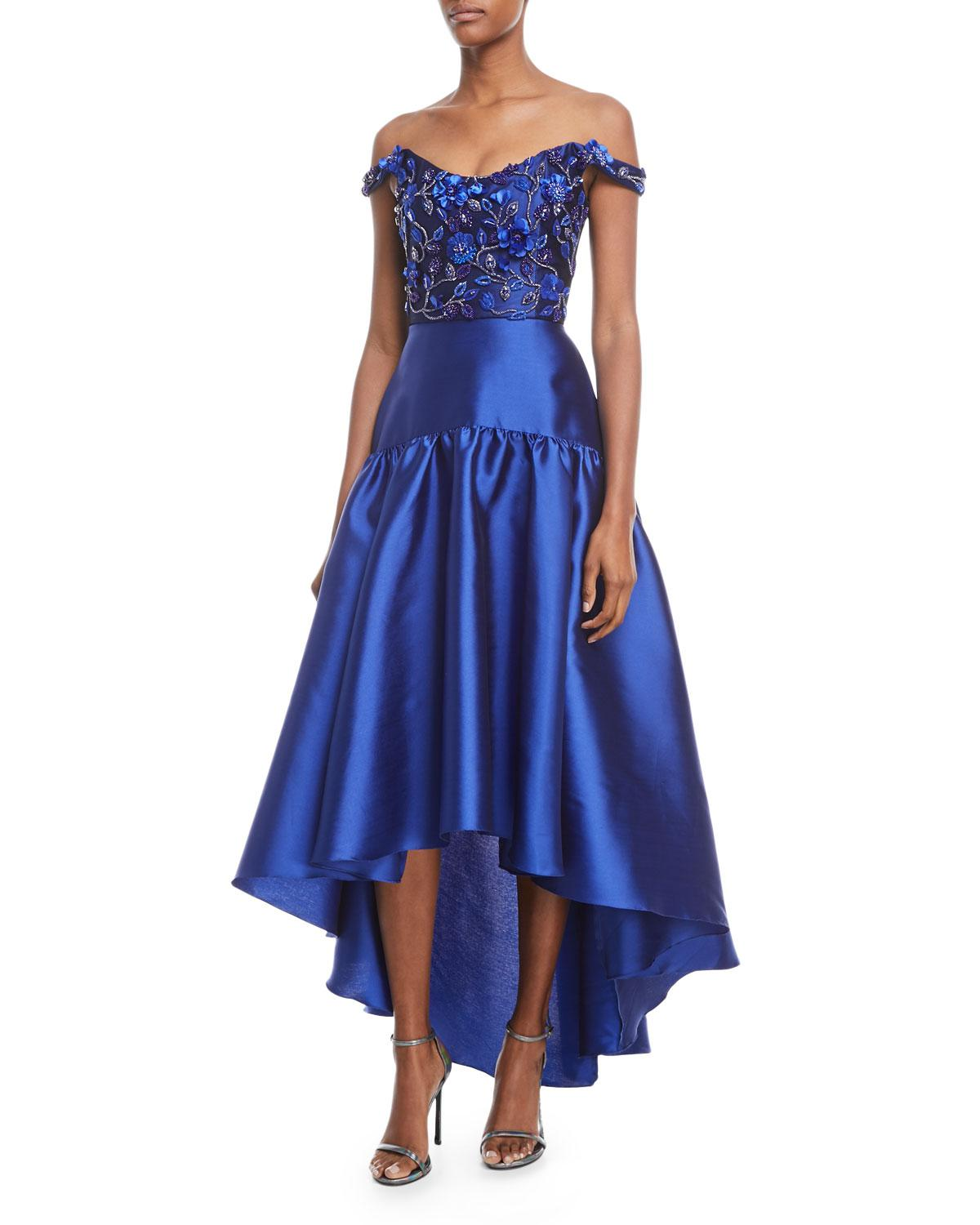 affd9f02 Marchesa notte High-low Mikado Gown W/ Bead Embroidered Bodice in ...