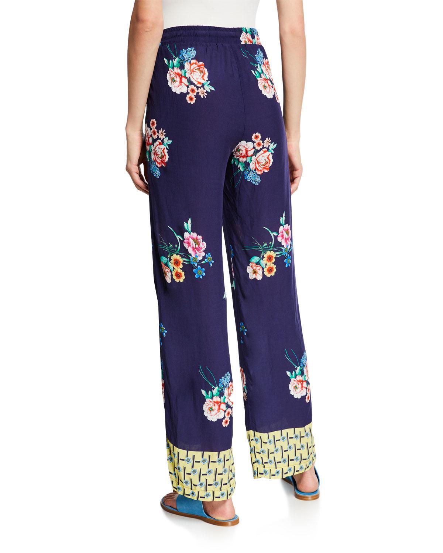 b871f1017a Johnny Was Zaline Challis Floral-print Pants in Blue - Lyst