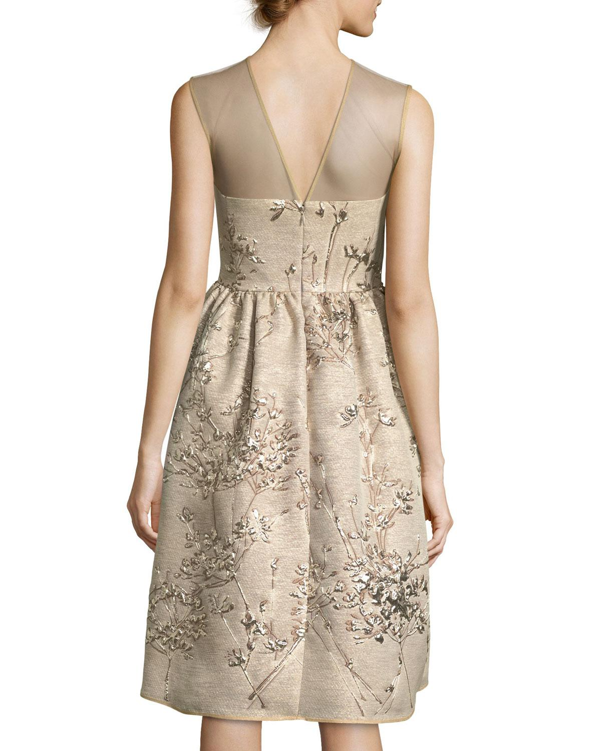 35e0f49ae37 Lyst - Talbot Runhof Ponnel Sleeveless Twig Silk Jacquard Cocktail Dress  With Floral Embroidery in Natural - Save 50%