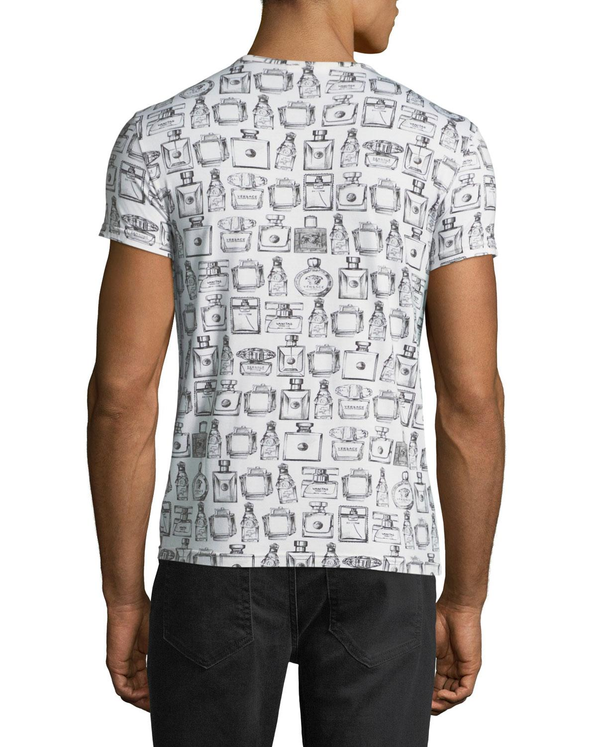5cfbdf278841 Lyst - Versace Men s Cologne-bottle Print T-shirt in White for Men