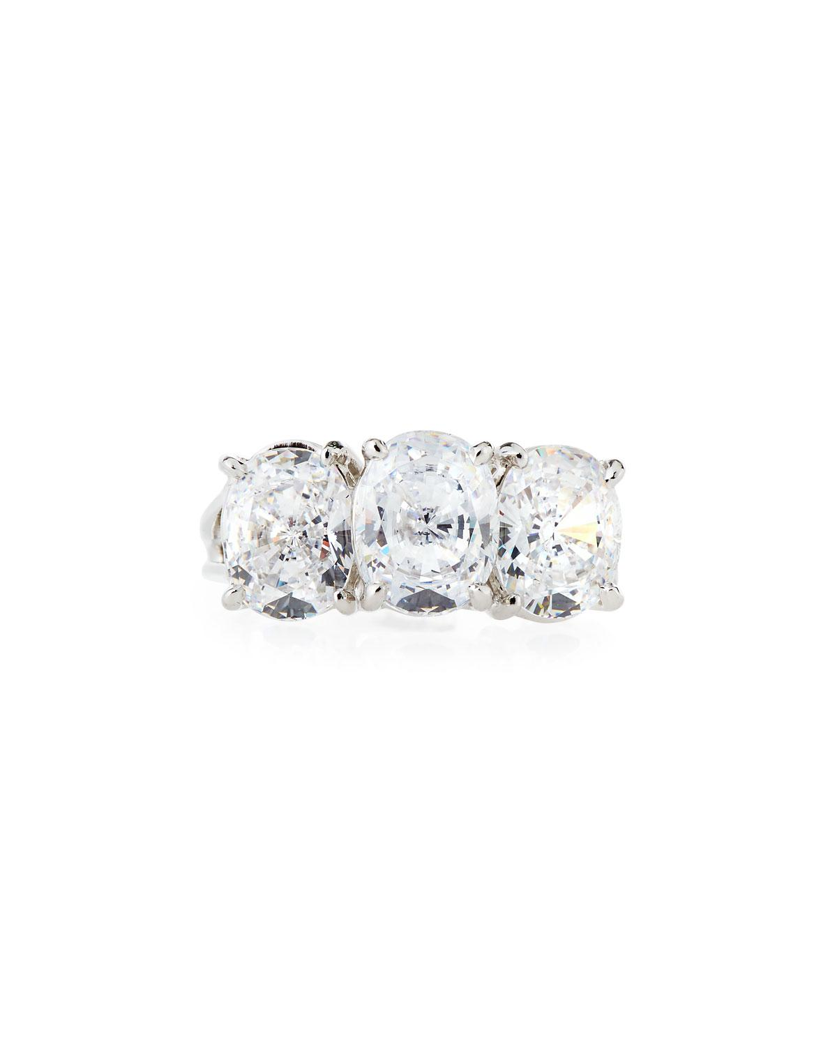 Fantasia Oval Cubic Zirconia Ring w/ Side Stones, Size 6