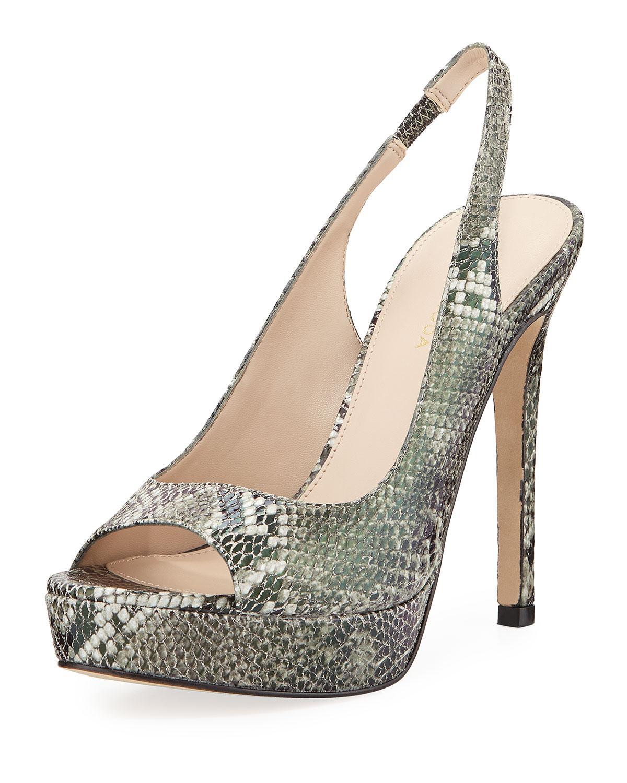 8495a836d5d Lyst - Pelle Moda Oana Snake-print Platform Slingback Sandals in Natural
