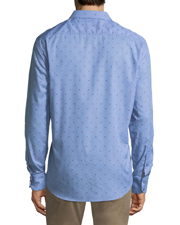 Robert Graham Shirt Spread collar White box check jacquard french cuff