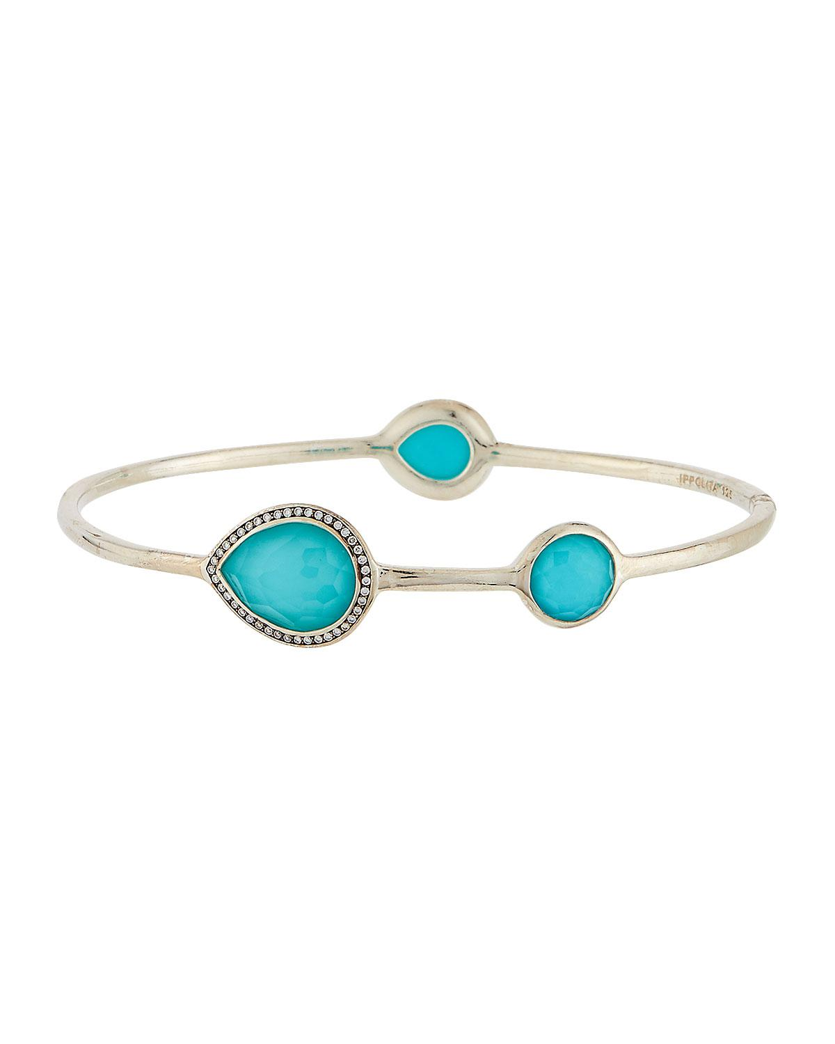 ccae86c3170 Ippolita Lollipop 3-stone Bangle In Turquoise W/ Diamonds in Blue - Lyst