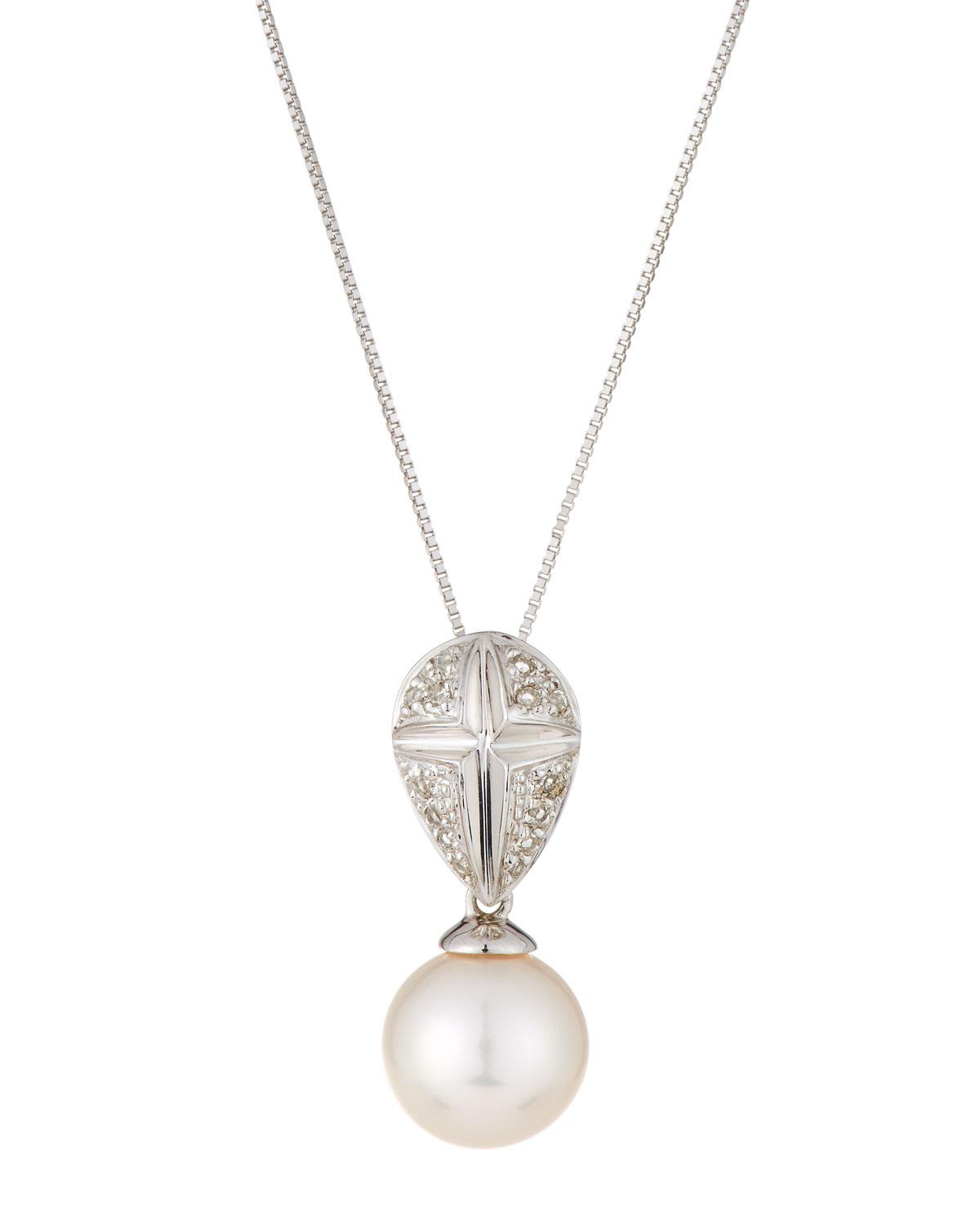 Belpearl 14k Diamond & Pearl Round Pendant Necklace