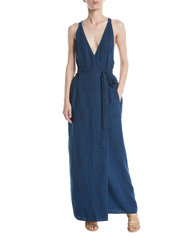 17c666056df Lyst - Leon Max V-neck Racerback Wrap Sleeveless Denim Maxi Dress in Blue