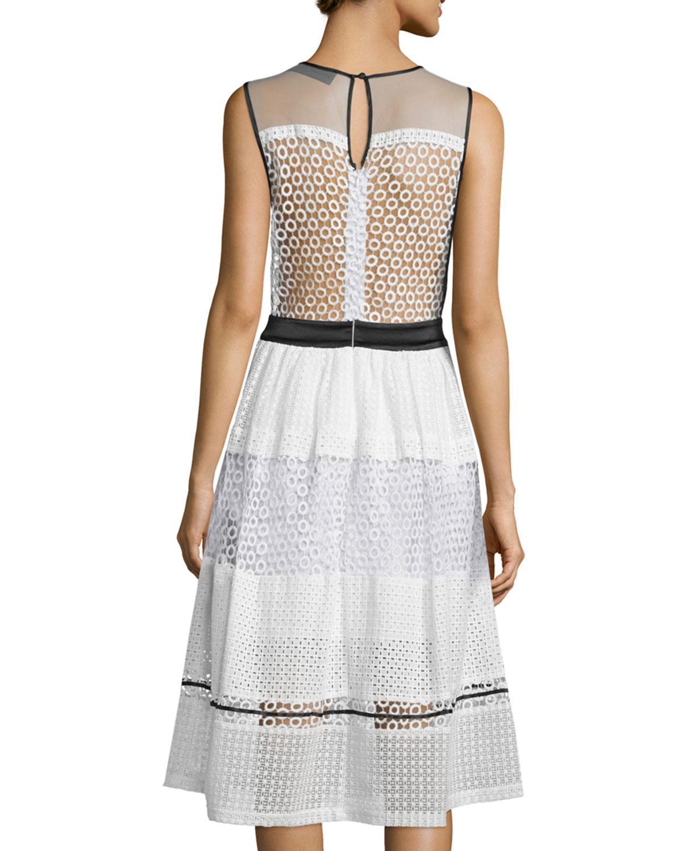 Lyst Kendall Kylie Sleeveless Pierced Mixed Lace Dress