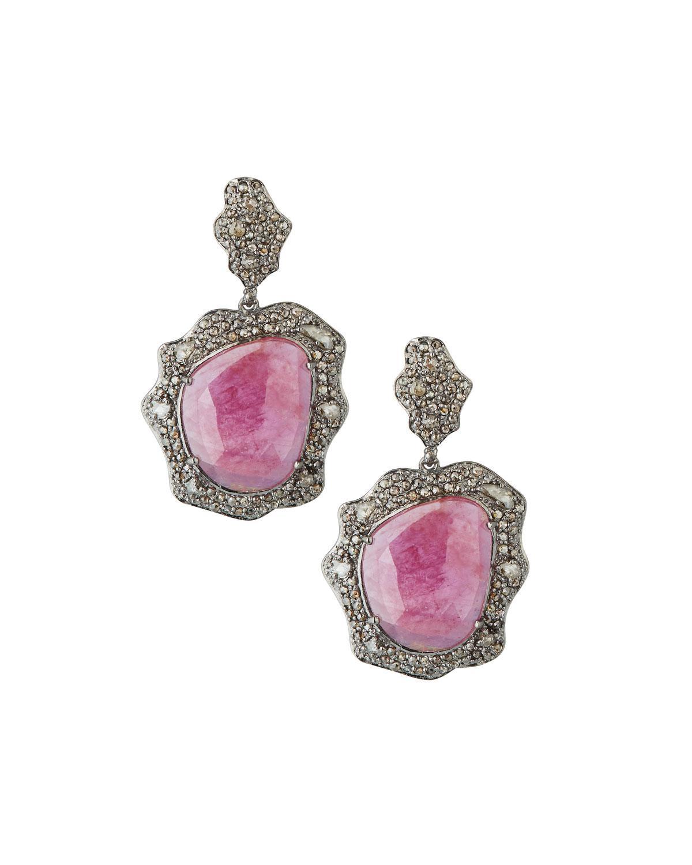 13975a32171fb Lyst - Bavna Diamond   Glass Ruby Drop Earrings in Red