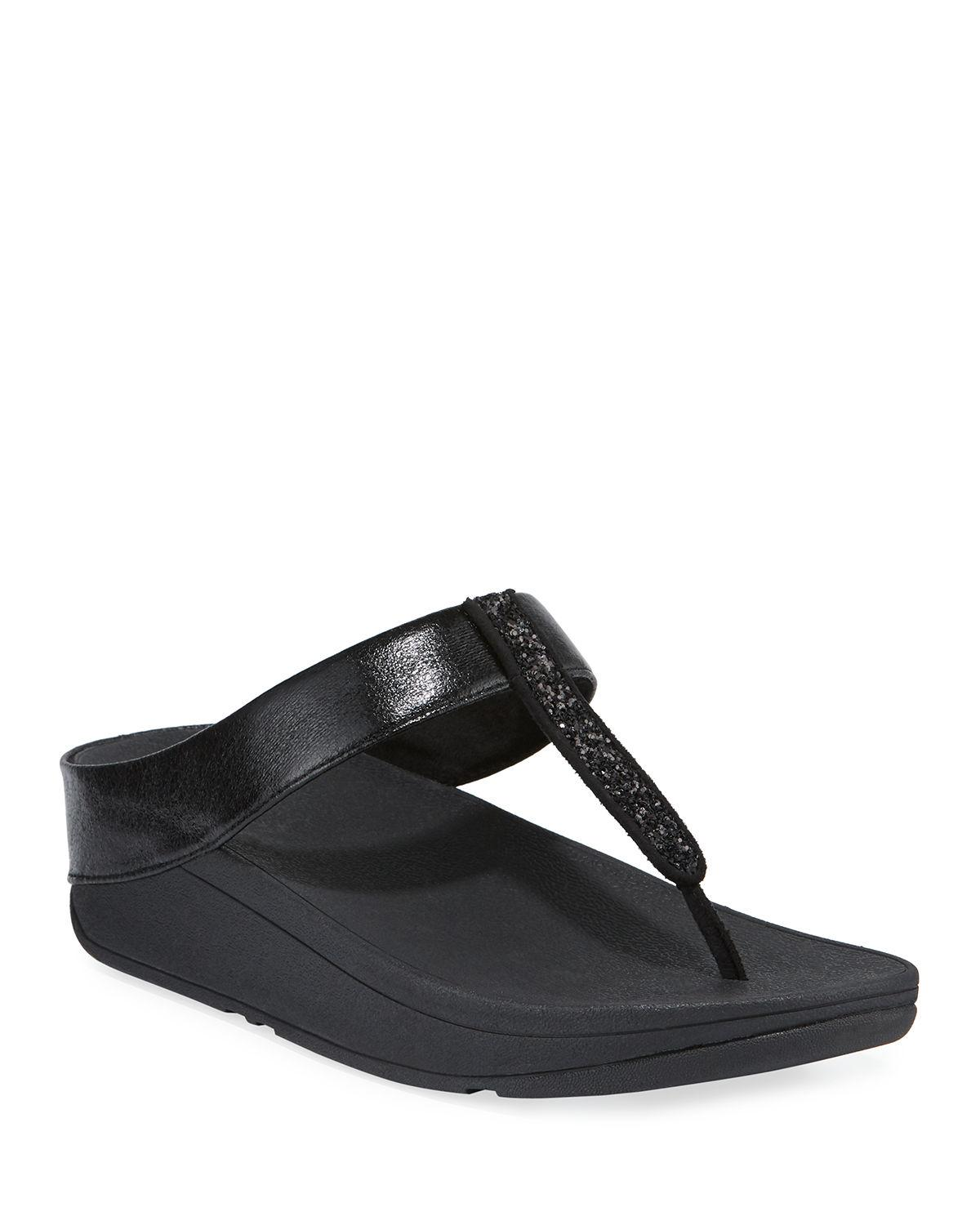a92710573 Lyst - Fitflop Fino Glittered Metallic Thong Sandals in Black