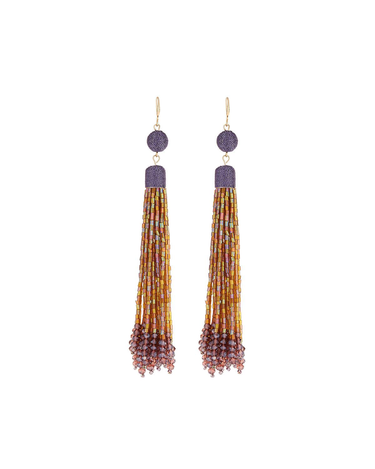 Lydell Nyc Beaded Linear Tassel Earrings, Green