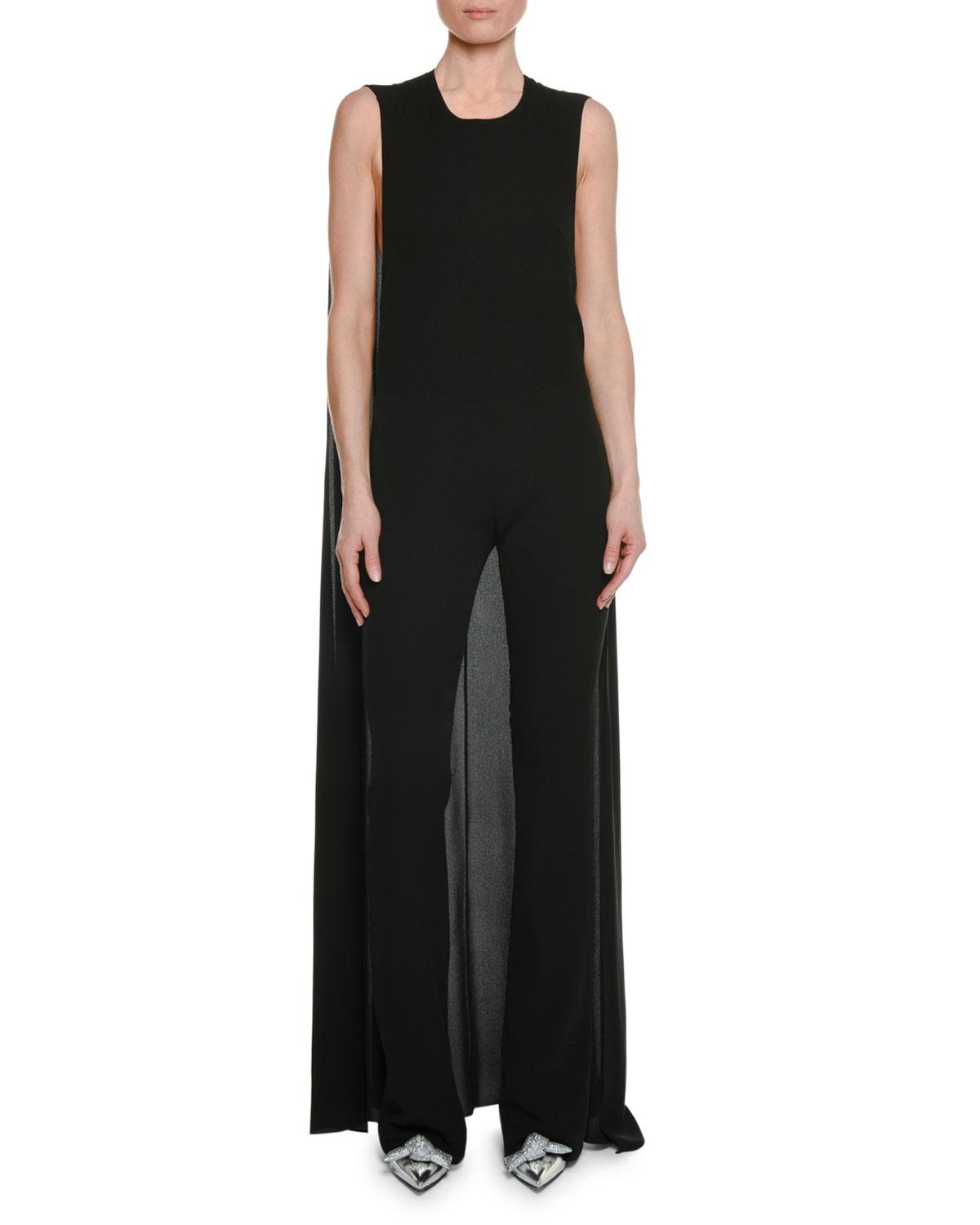 0cc6276072 Lyst - Tom Ford Sleeveless Straight-leg Georgette Jumpsuit With Cape ...