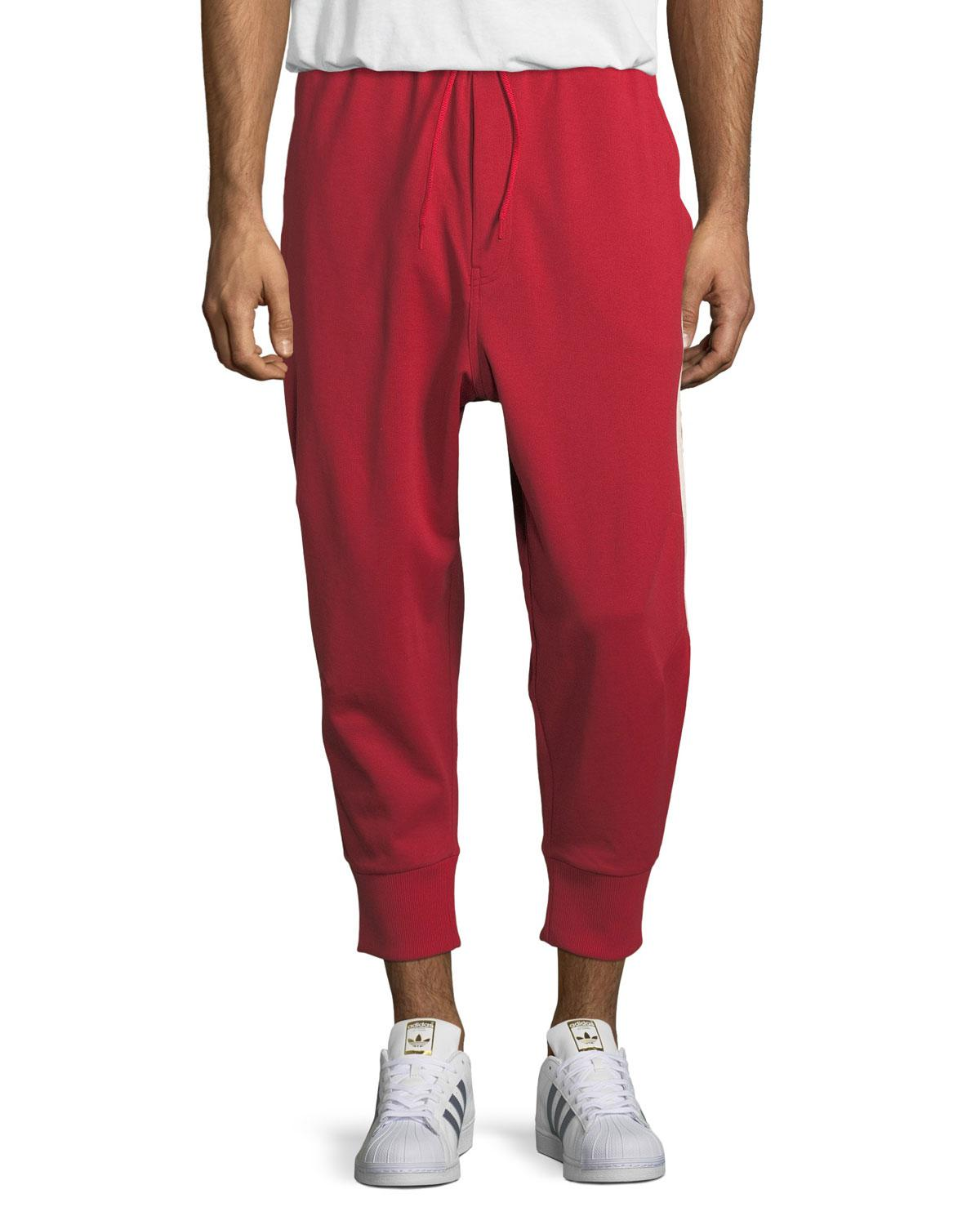 a4e54ab5f4349 Lyst - Y-3 3-stripe French Terry Track Pants in Red for Men