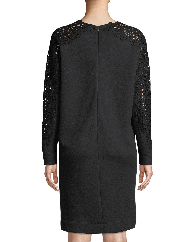 01156e17ca Akris Punto Sweatshirt Sheath Dress W  Detachable Turtleneck in Black - Lyst
