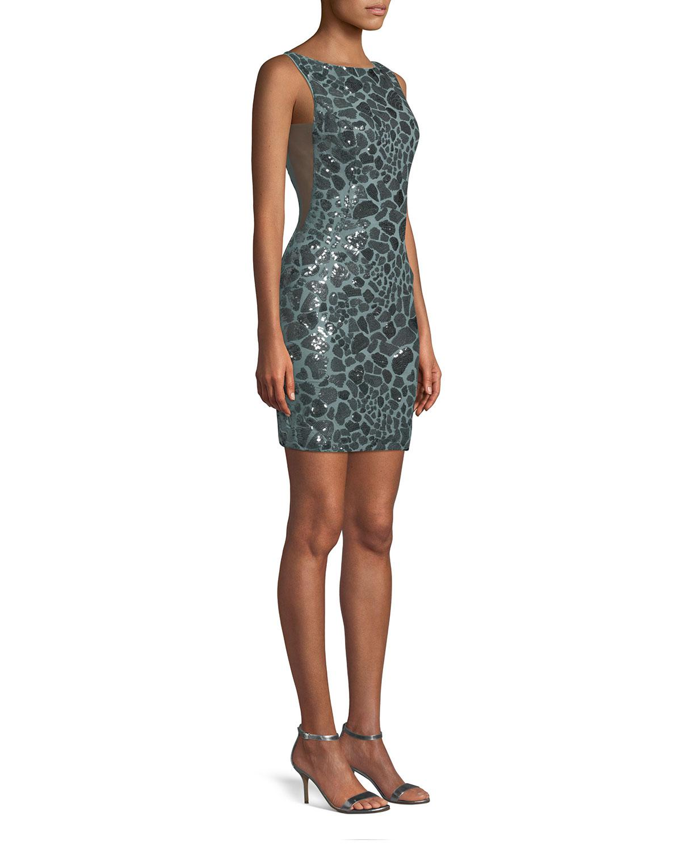 d32f4f1de38 Jovani - Multicolor Leopard Sequin Open-back Mini Dress - Lyst. View  fullscreen