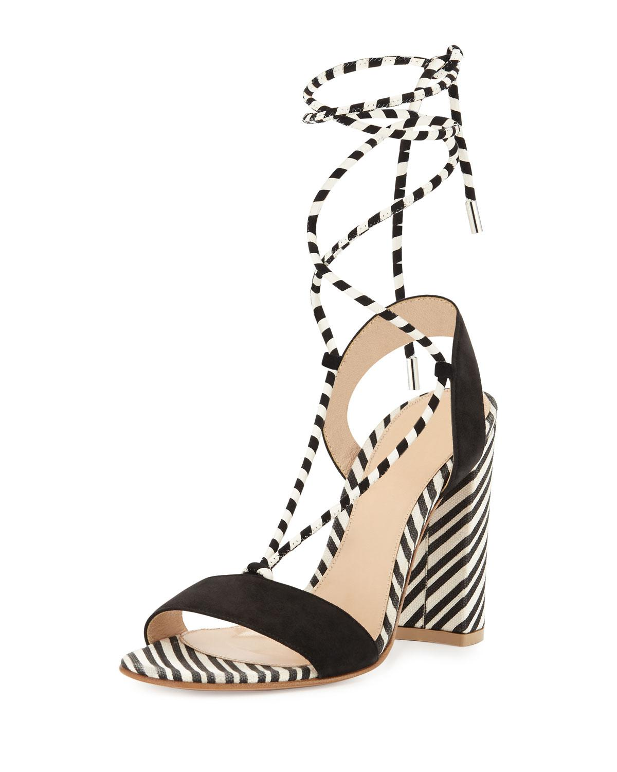 51bb00e5314db Lyst - Gianvito Rossi Nautical Striped Lace-up Sandals in Black