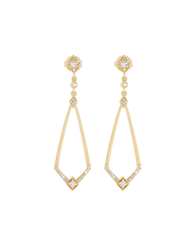 Penny Preville 18k Yellow Gold Diamond Deco Drop Earrings uwumIT