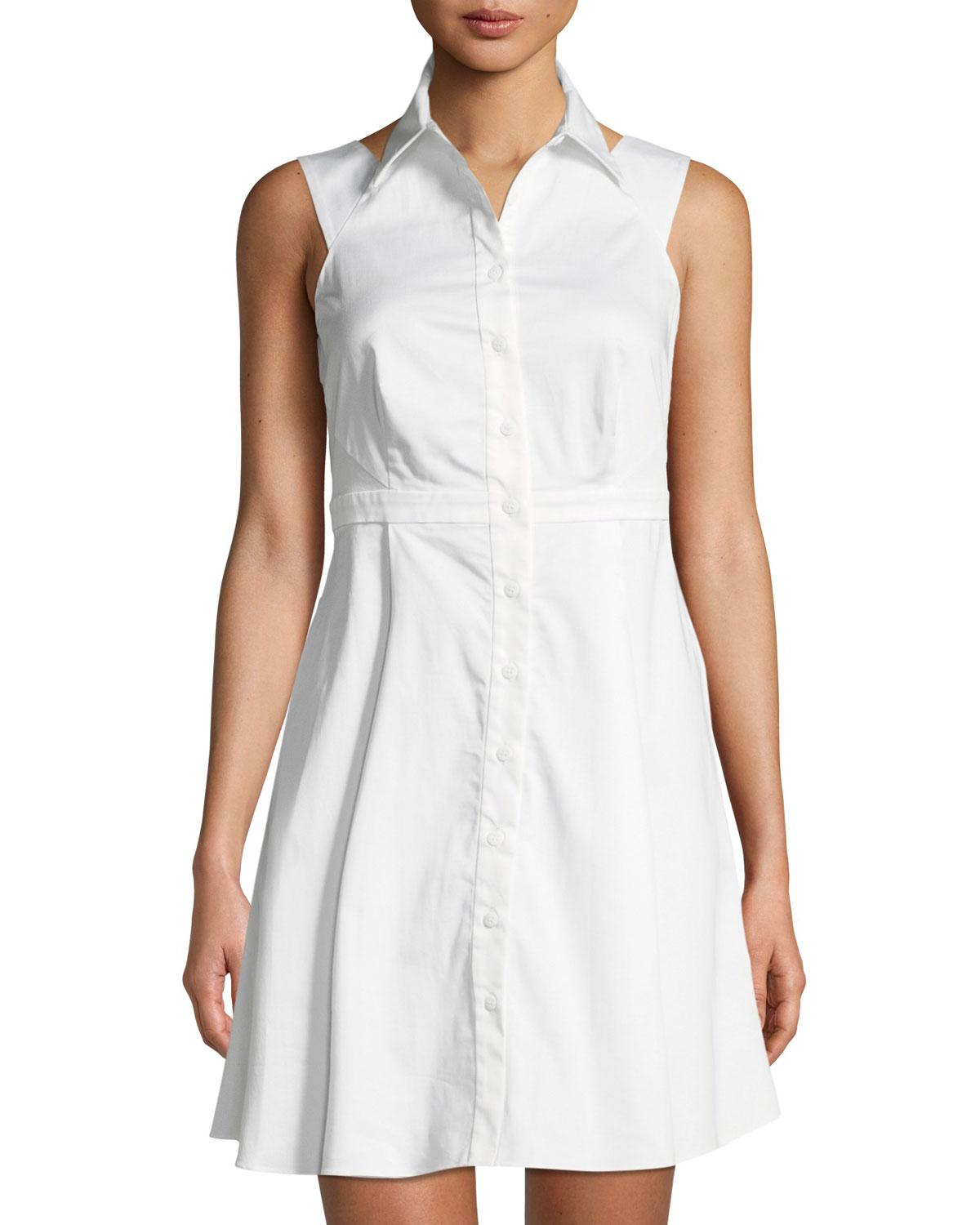Lyst Zac Posen Isobel Sleeveless Fit And Flare Shirtdress In White