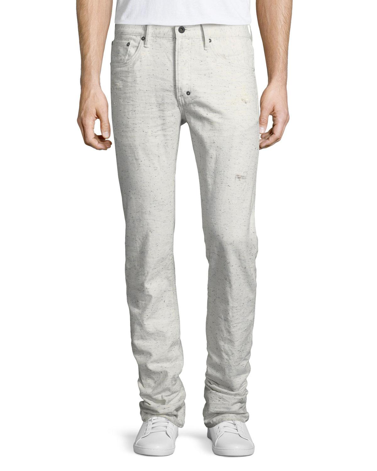 4ed5fab2c2f Lyst - PRPS Demon Flecked   Distressed Slim-straight Jeans in White ...