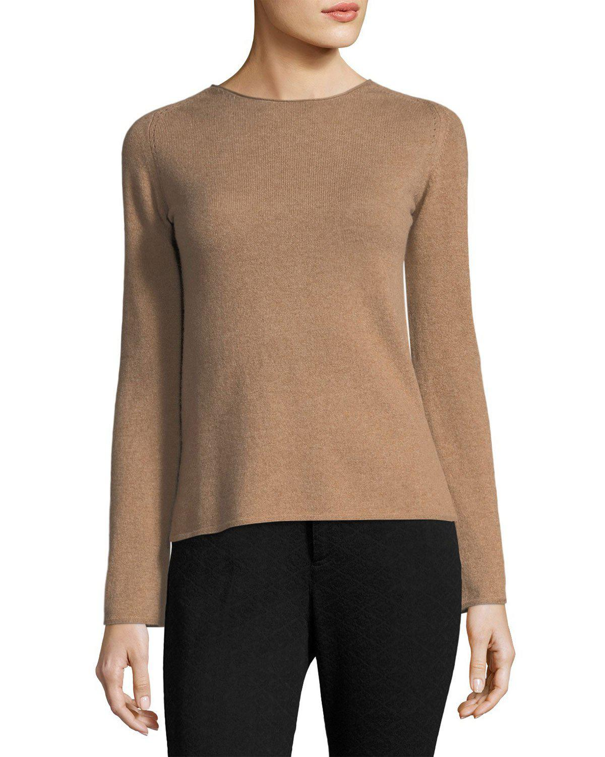 Neiman marcus Cashmere Basic Pullover Sweater | Lyst