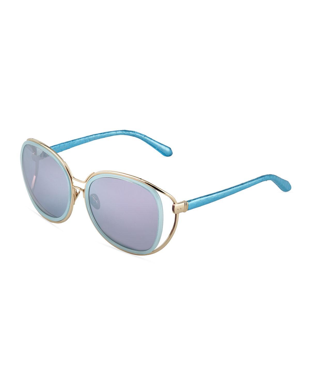 581bb6bd079 Lyst - Linda Farrow Oversized Square Sunglasses W  Snakeskin-wrapped ...