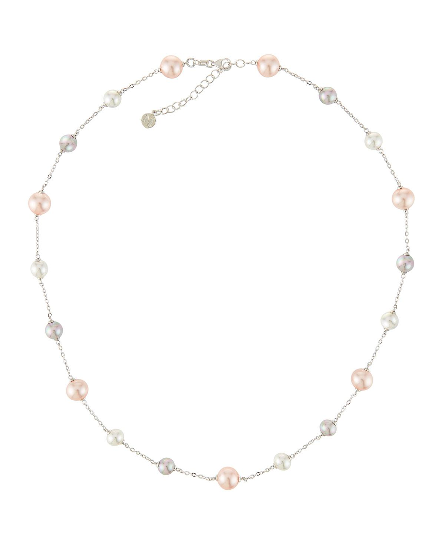 Majorica Multi-Pearl Station Necklace, White