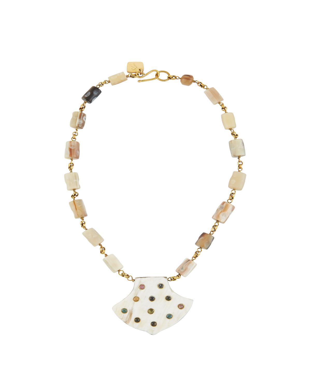 Ashley Pittman Jasiri Light Horn Collar Necklace qt51XD